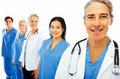 Hospital colleagues standing in a row Stock Photography
