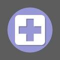 Hospital, Cross Flat Icon. Rou...