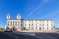 Hospital de Jesus Cristo Church. 17th century Portuguese Mannerist architecture, called Chao. Royalty Free Stock Photo