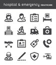 Hospital and emergency. Healthcare flat icons. Black Royalty Free Stock Photo