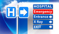Hospital emergency sign an image showing a with arrow direction to entrance x ray and exit of surgical Stock Images