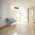 Hospital hallway chairs in the interior Stock Image