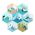 Hospital Hexagonal Tessellated Pattern Isometric Composition