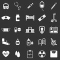 Hospital icons on black background stock vector Royalty Free Stock Photos