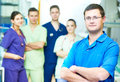 Hospital medic staff. young surgeon doctors team at operation room Royalty Free Stock Photo
