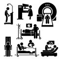 Hospital medical checkup screening diagnosis cliparts a set of human pictograms representing the for bmi mammogram mri ct scan Royalty Free Stock Photos