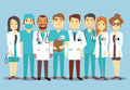 Hospital medical staff team doctors nurses surgeon vector flat illustration