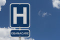 Hospital and obamacare hospitals a sign with a sky background Royalty Free Stock Photography
