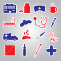 Hospital and sick stickers eps simple Stock Images