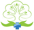 Hospital sign symbol describing eco friendly natural and people care demonstrated with concept of hand tree and group of people in Royalty Free Stock Photo