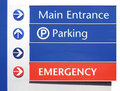Hospital Signs - Main, Parking,Emergency Royalty Free Stock Images
