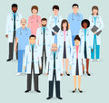 Hospital staff. Group of twelve men and women doctors and nurses. Medical people. Flat style vector illustration.
