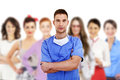 Hospital staff over white background Royalty Free Stock Photography