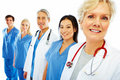 Hospital staff standing in a row over white Royalty Free Stock Photography