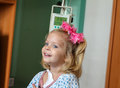 Hospitalized girl recovering little baby with a intravenous bag on a pole real situation Royalty Free Stock Photography