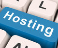Hosting key means host or entertain on keyboard meaning invite Royalty Free Stock Images