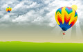 Hot air ballon stock image in sky Royalty Free Stock Photo