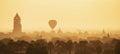Hot air ballons over pagodas in sunrise at Bagan Royalty Free Stock Photo