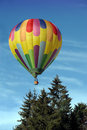 Hot air balloon above the trees Stock Image