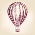 Hot air balloon, airship or transport  hand drawn vector illustration  sketch Royalty Free Stock Photo