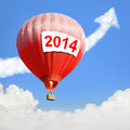 Hot air balloon with big billboard empty copy space and blue sky easy for your design Royalty Free Stock Photo