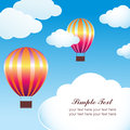 Hot air balloon in the blue sky with clouds vector illustration Royalty Free Stock Image