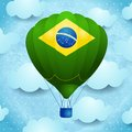 Hot air balloon with Brazilian colors Royalty Free Stock Photo