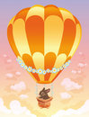 Hot air balloon with brown bunny. Stock Images