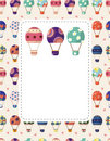 Hot air balloon card,vector illustration Royalty Free Stock Photo