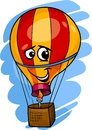 Hot air balloon cartoon illustration of funny comic mascot character Stock Photo