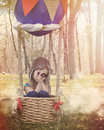 Hot air balloon childhood adventure a little child is sitting in a hair basket pretending to fly in clouds looking at a butterfly Royalty Free Stock Image