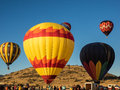 Hot air balloon festival colorful s launch from a mountain valley at the montague fair in northern california Royalty Free Stock Photography