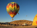 Hot air balloon festival colorful s launch from a mountain valley at the montague fair in northern california Stock Image