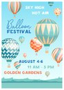 Hot air balloon festival vector poster template. Summer event promotion decorated with flying balloons in sky on
