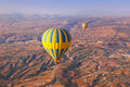 Hot air balloon flying over Cappadocia Turkey Stock Image