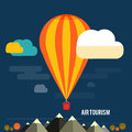 Hot air balloon flying over the mountain icons of traveling planning a summer vacation tourism and journey objects Royalty Free Stock Images