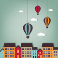 Hot air balloon flying over town - scrap elements Royalty Free Stock Photography
