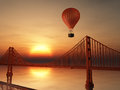 Hot Air Balloon and Golden Gate Stock Image
