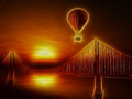 Hot air balloon and golden gate bridge illustration Royalty Free Stock Photo