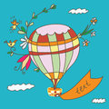 Hot air balloon greeting card funny design Stock Photography