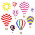Hot air balloon isolated objects on white background vector illustration eps Royalty Free Stock Photo