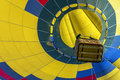 Hot air balloon over blue sky close up Stock Photo
