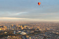 Hot air balloon over Melbourne Royalty Free Stock Photos