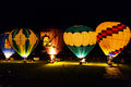 Hot air balloon rally night glow show is a very spectacular event Royalty Free Stock Photos