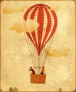Hot air balloon with red and white stripes two riders clouds vintage style stained paper Royalty Free Stock Photos