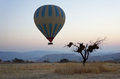 Hot air balloon rising a lifts off the ground at dawn in cappadocia turkey Stock Photos