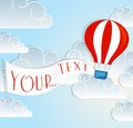 Hot air balloon sale sign paper origamy style Royalty Free Stock Photo