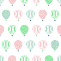 Hot air balloon seamless pattern. Baby shower vector illustrations isolated on white background. Royalty Free Stock Photo
