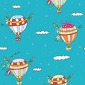 Hot air balloon seamless pattern funny travel idea Royalty Free Stock Photo