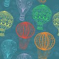 Hot air balloon sky hand drawn seamless background design Royalty Free Stock Image
